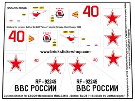Custom Sticker for LEGO® Rebrickable MOC 73456 -  Sukhoi SU-24 by Darth Designer
