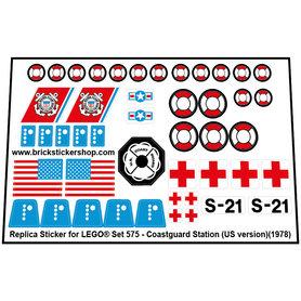 Precut Custom Replacement Stickers voor Lego Set 575 - Coastguard Station (US Version) (1978)