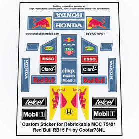 Precut Custom Stickers for LEGO Rebrickable MOC-75491 - Red Bull RB15 F1 2019 by Cooter78NL
