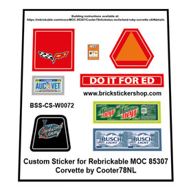 Precut Custom Stickers for LEGO Rebrickable MOC-85307 - Cleetus McFarland - Ruby (Corvette C6) by Cooter78NL