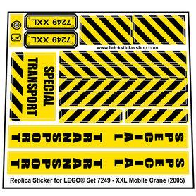 Precut Custom Replacement Stickers for Lego Set 7249 - XXL Mobile Crane (2005)