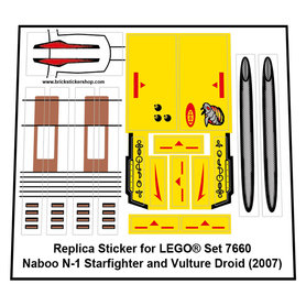 Precut Custom Replacement Stickers for Lego Set 7660 - Naboo N-1 Starfighter and Vulture Droid (2007)