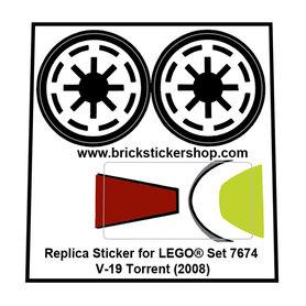 Precut Custom Replacement Stickers for Lego Set 7674 - V-19 Torrent (2008)