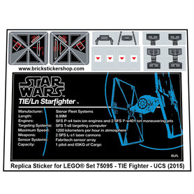 Precut Custom Replacement Stickers for Lego Set 75095 - TIE Fighter - UCS (2015)