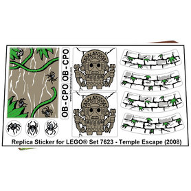 Precut Custom Replacement Stickers for Lego Set 7623 - Temple Escape (2008)