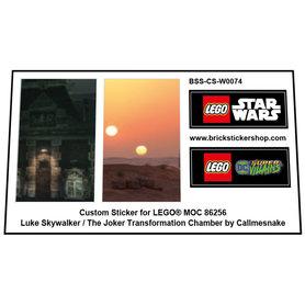 Precut Custom Stickers for Rebrickable MOC 86256 - Luke Skywalker / The Joker Transformation Chamber by Callmesnake (2021)