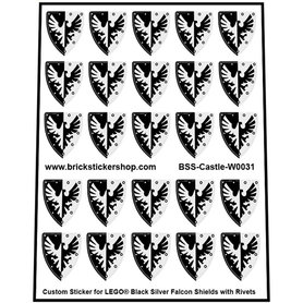 Precut Lego Custom Stickers for Black Silver Falcon Shields with Rivets