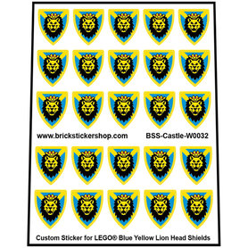 Precut Lego Custom Stickers for Blue Yellow Lion Head Shields