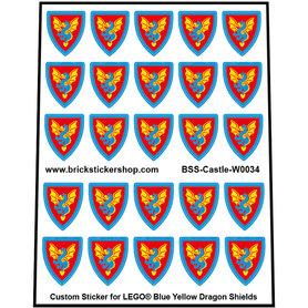 Precut Lego Custom Stickers for Blue Yellow Dragon Shields