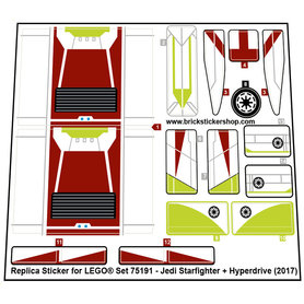 Precut Custom Replacement Stickers for Lego Set 75191 - Jedi Starfighter with Hyperdrive (2017)