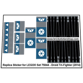 Precut Custom Replacement Stickers for Lego Set 75044 - Droid Tri-Fighter (2014)