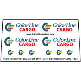 Precut Custom Replacement Stickers for Lego Set 2149 - Color Line Container Lorry (1997)