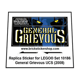 Precut Custom Replacement Stickers for Lego Set 10186 - General Grievous UCS (2008)