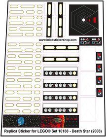 Precut Custom Replacement Stickers for Lego Set 10188 - Death Star (2008)