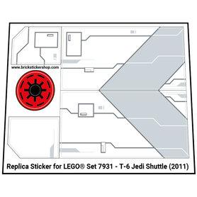 Precut Custom Replacement Stickers for Lego Set 7931 - T-6 Jedi Shuttle (2011)