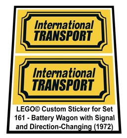 Precut Custom Replacement Stickers for Lego Set 161 - Battery Wagon with Signal and Direction-Changing (1972)