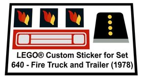 Precut Custom Replacement Stickers for Lego Set 640 - Fire Truck and Trailer (1978)