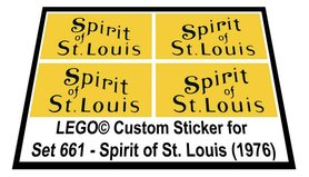Precut Custom Replacement Stickers voor Lego Set 661 - Spirit of St. Louis (1976)