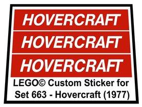 Precut Custom Replacement Stickers for Lego Set 663 - Hovercraft (1977)