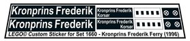 Precut Custom Replacement Stickers for Lego Set 1660 - Kronprins Frederik Ferry (1996)