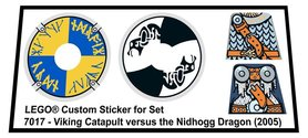 Precut Custom Replacement Stickers for Lego Set 7017 - Viking Catapult versus the Nidhogg Dragon (2005)
