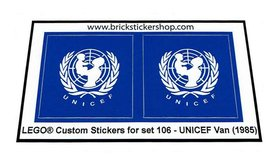 Precut Custom Replacement Stickers for Lego Set 106 - UNICEF Van (1985)