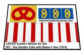 Precut Custom Replacement Stickers for Lego Set 361 - Tea Garden Cafe with Baker's Van (1974)