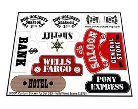 Precut Custom Replacement Stickers for Lego Set 365 - Wild West Scene (1975)