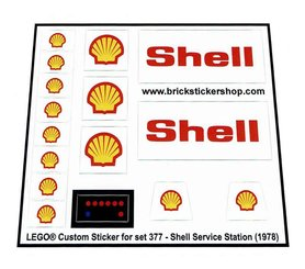 Precut Custom Replacement Stickers for Lego Set 377 - Shell Service Station (1978)