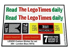 Precut Custom Replacement Stickers for Lego Set 384 - London Bus (1973)