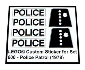 Precut Custom Replacement Stickers for Lego Set 600 - Police Patrol (1978)