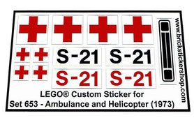 Precut Custom Replacement Stickers for Lego Set 653 - Ambulance and Helicopter (1973)
