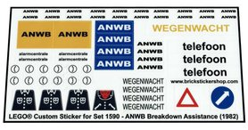 Precut Custom Replacement Stickers for Lego Set 1590 - ANWB Breakdown Assistance (1982)