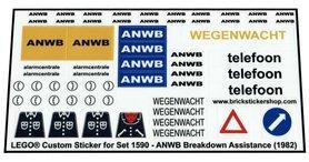 Precut Custom Replacement Stickers voor Lego Set 1590 - ANWB Breakdown Assistance (1982)