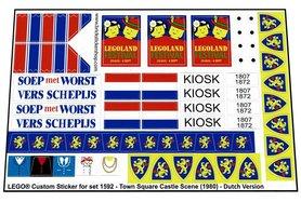 Precut Custom Replacement Stickers voor Lego Set 1592 - Town Square Castle Scene (Dutch Version)(1983)