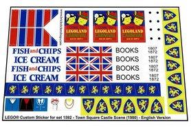 Precut Custom Replacement Stickers for Lego Set 1592 - Town Square Castle Scene (English Version)(1980)