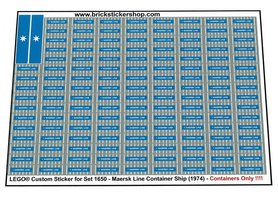 Precut Custom Replacement Stickers for Lego Set 1650 - Maersk Line Container Ship (1974)(Containers)