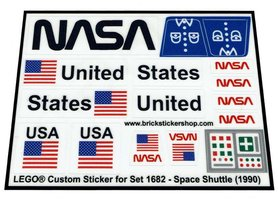 Precut Custom Replacement Stickers for Lego Set 1682 - Space Shuttle (1990)