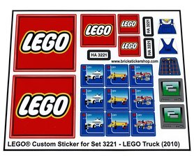 Precut Custom Replacement Stickers for Lego Set 3221 - LEGO Truck (2010)
