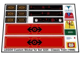 Precut Custom Replacement Stickers for Lego Set 3225 - Classic Train (1998)