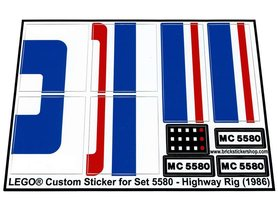 Precut Custom Replacement Stickers for Lego Set 5580 - Highway Rig (1986)