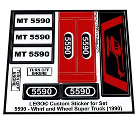 Precut Custom Replacement Stickers for Lego Set 5590 - Whirl and Wheel Super Truck (1990)