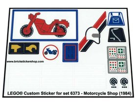 Precut Custom Replacement Stickers for Lego Set 6373 - Motorcycle Shop (1984)