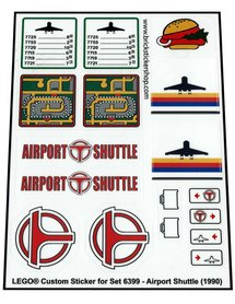 Precut Custom Replacement Stickers for Lego Set 6399 - Airport Shuttle (1990)