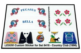 Precut Custom Replacement Stickers for Lego Set 6418 - Country Club (1996)
