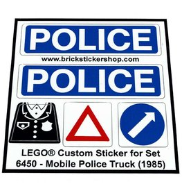 Precut Custom Replacement Stickers for Lego Set 6450 - Mobile Police Truck (1985)