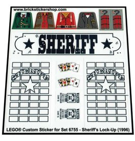 Precut Custom Replacement Stickers for Lego Set 6755 - Sheriff's Lock-Up (1996)