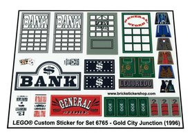 Precut Custom Replacement Stickers for Lego set 6765 - Gold City Junction (1996)