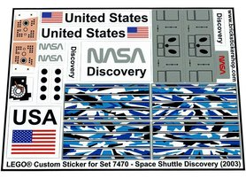 Precut Custom Replacement Stickers for Lego Set 7470 - Space Shuttle Discovery (2003)