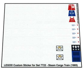 Precut Custom Replacement Stickers for Lego Set 7722 - Steam Cargo Train (1985)